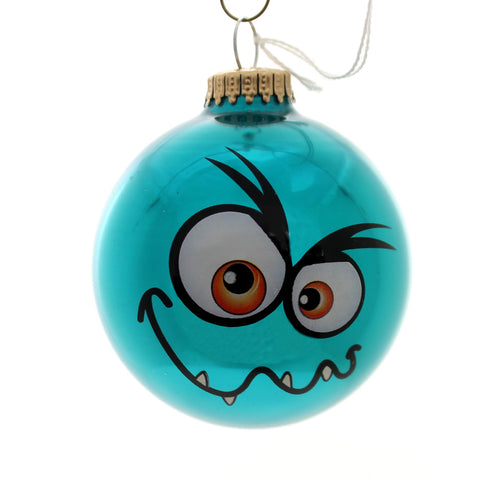 Holiday Ornaments MONSTER FACES BALL ORNAMENT Glass Halloween 710002A Blue 34263