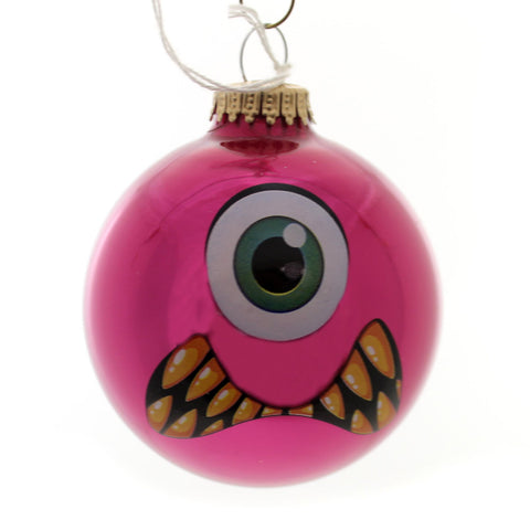 Holiday Ornaments MONSTER FACES BALL ORNAMENT Glass Halloween 710002A Pink 34264
