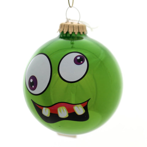 Holiday Ornaments MONSTER FACES BALL ORNAMENT Glass Halloween 710002A Green 34265