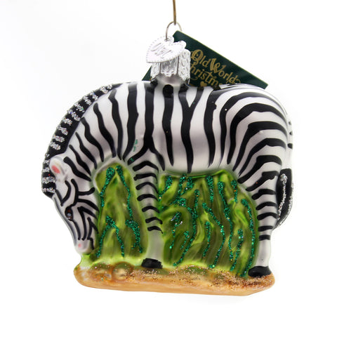 Old World Christmas ZEBRA Glass Ornament African Stripes 12051 34352