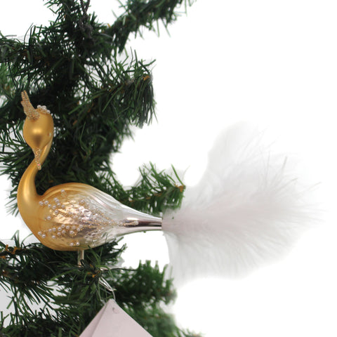 Golden Bell Collection GOLDEN SWAN CLIP ON Glass Ornament Czech Feather Br456 34433