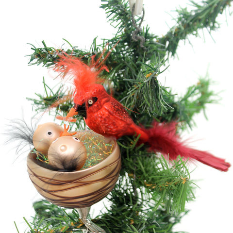 Golden Bell Collection NEST FEEDING CARDINALS CLIP ON Ornament Red Bird Br454 34435