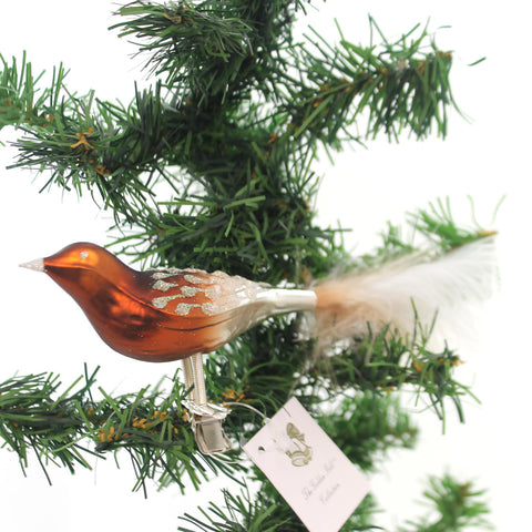 Golden Bell Collection BROWN BIRD w/ FEATHERS Glass Ornament Tree Forest Br728 34446