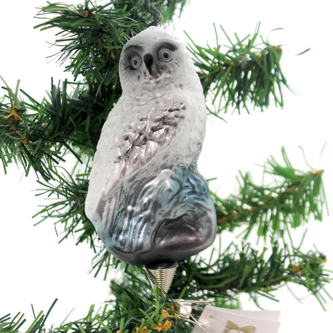 Golden Bell Collection SNOW OWL CLIP ON . Glass Ornament Forest Hoot Who An481 34488
