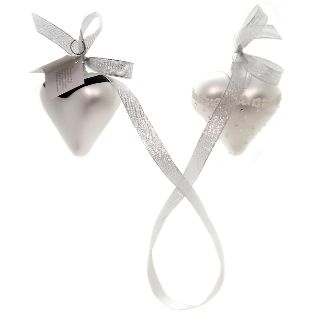 Golden Bell Collection Bride And Groom Hearts Glass Ornament