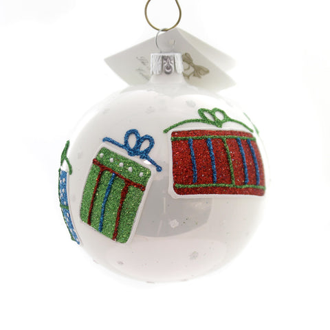 Golden Bell Collection BALL WITH GLITTERED GIFTS Glass Ornament Presents Bm1033 34523