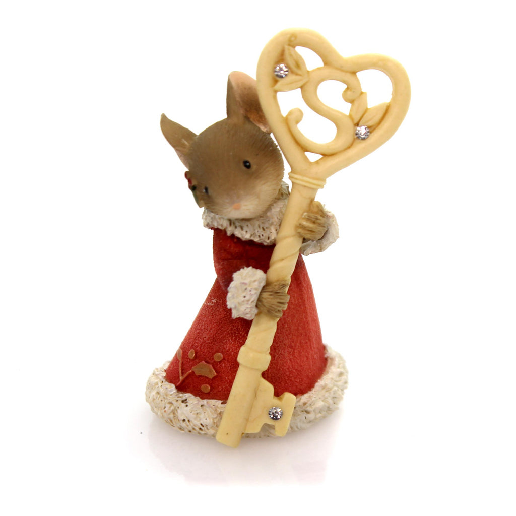 Christmas Mouse With Santa Key Christmas Figurine