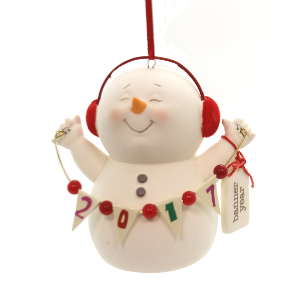 Holiday Ornaments Snowpinion Banner Year 2017 Porcelain Ornament