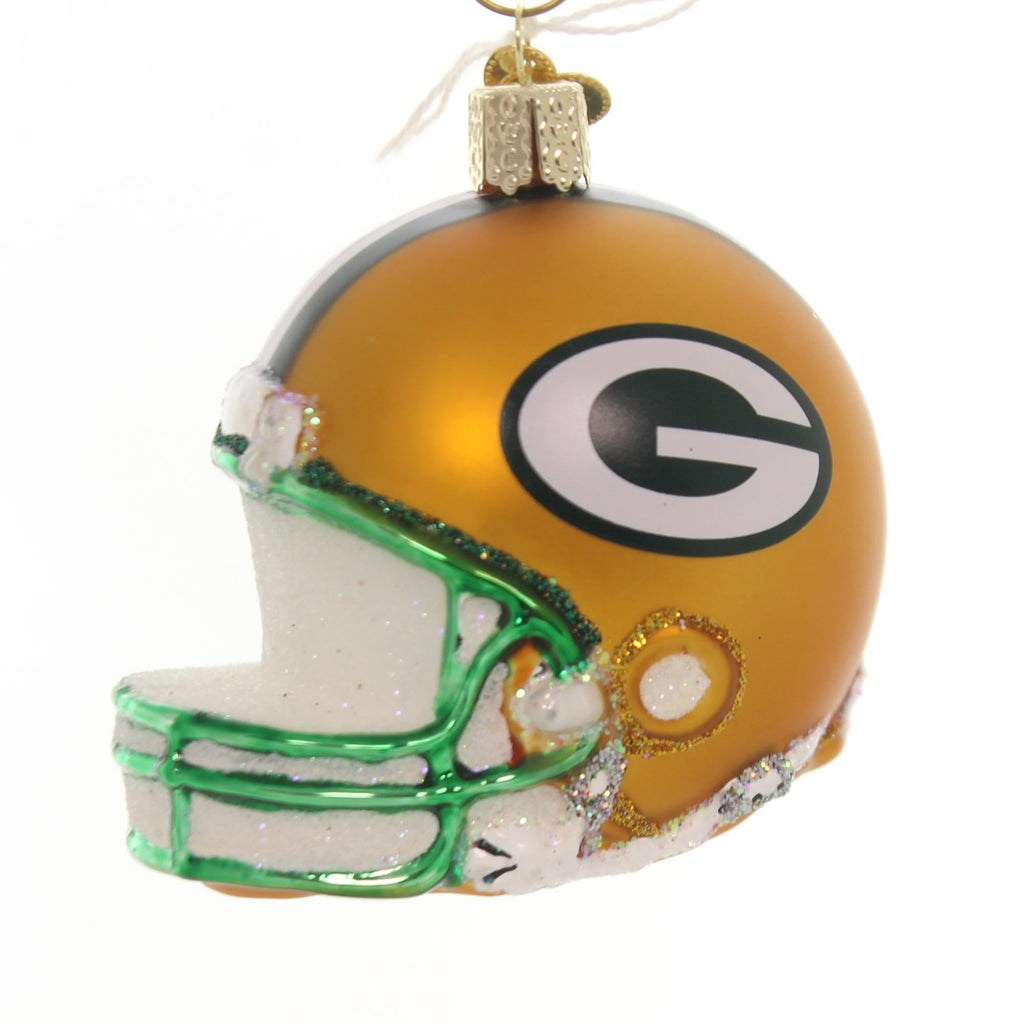 old world christmas green bay packers helmet glass nfl licensed 71217 - Green Bay Packers Christmas Ornaments