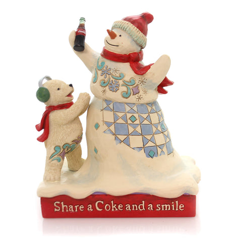 Jim Shore SHARE A COKE AND A SMILE Snowman Polar Bear Coca-Cola 4059473 34928