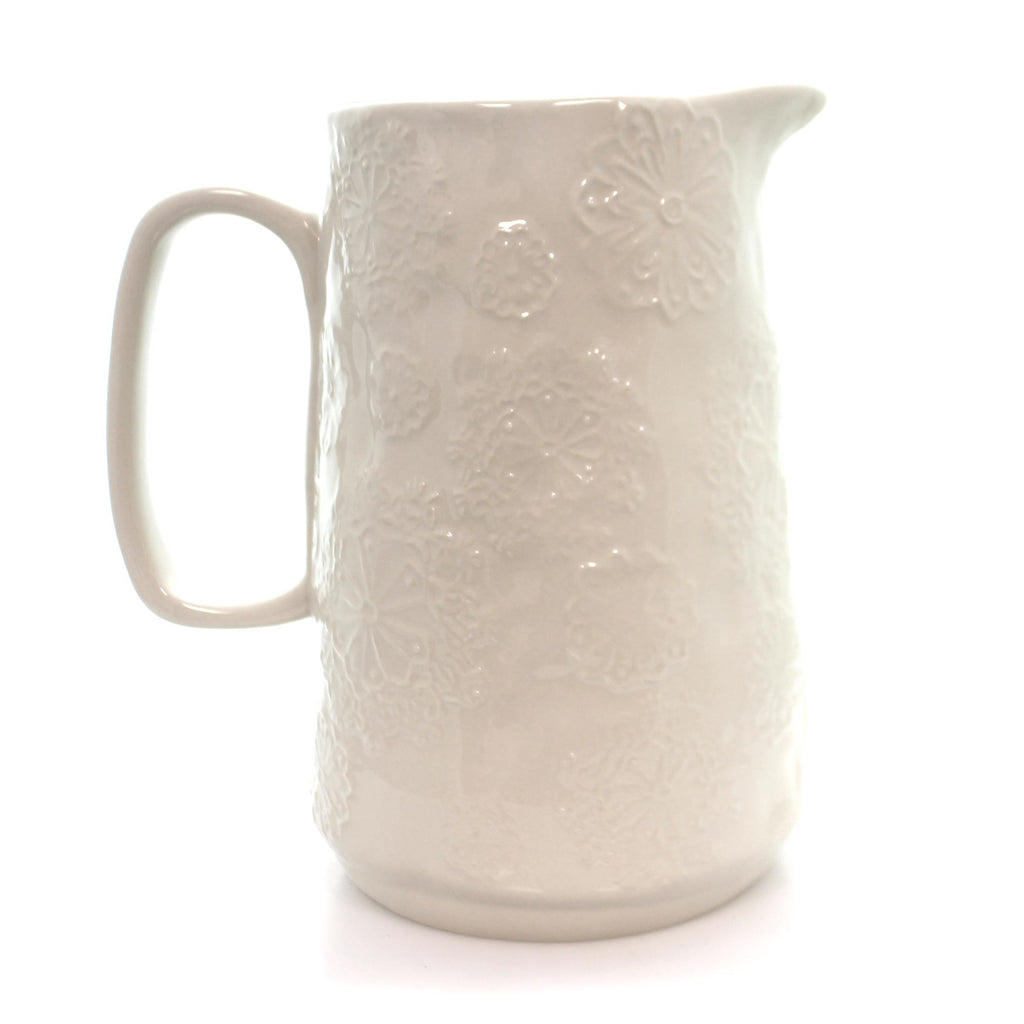 Tabletop White Snowflake Pitcher Christmas Tabletop