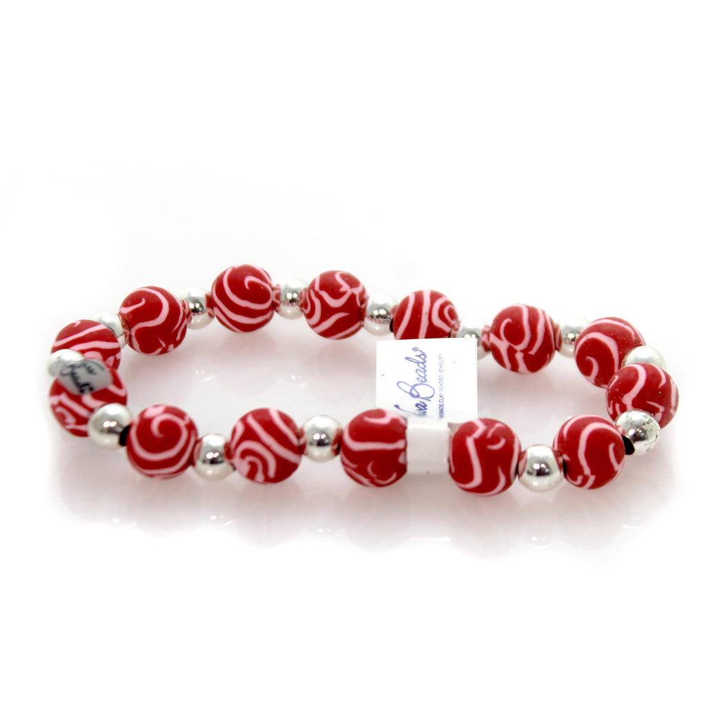Jewelry Red & White Classic Silverball Bracelet Bracelet