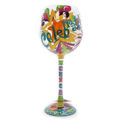 Tabletop CELEBRATE LOLITA WINE GLASS Glass Hand Painted 6000743 35198
