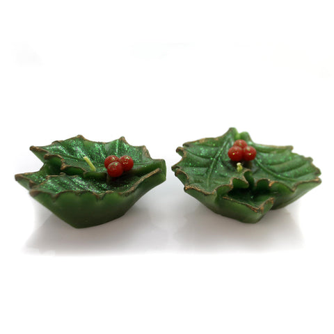 Christmas Holly Berry Candle Set / 2 Decorative Candle 35250