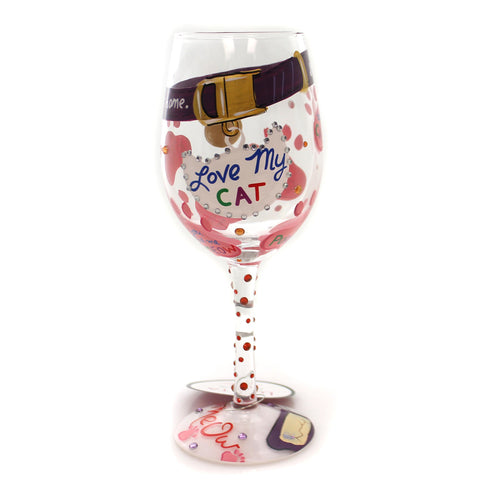 Tabletop LOVE MY CAT LOLITA WINE GLASS Glass Hand Painted 6000023 35471
