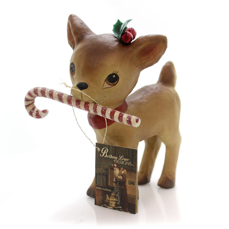 Christmas Retro Reindeer W/Candy Cane Christmas Figurine