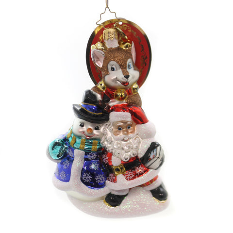 Christopher Radko SAY CHEESE Glass Santa Picture Snowman 1018372 35957
