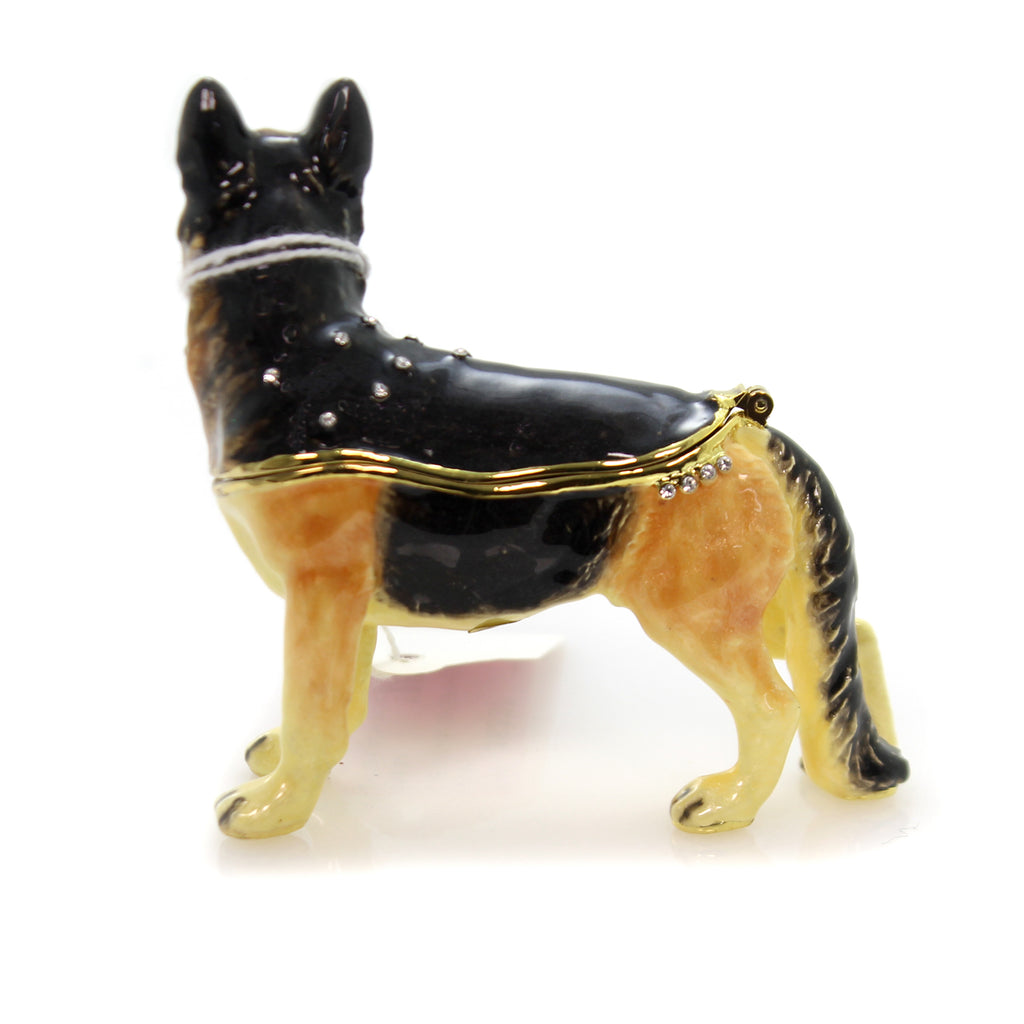 Hinged Trinket Box German Shepherd Enameled Box Trinket Box