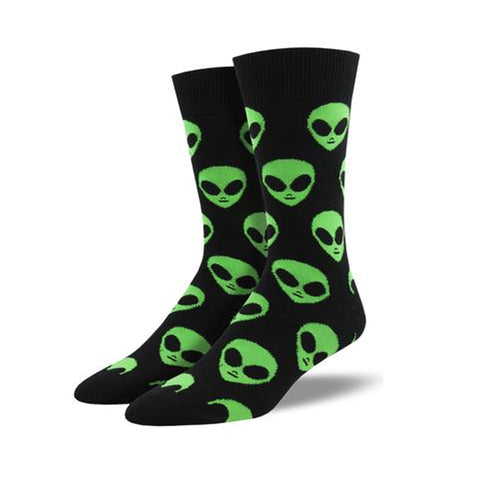 Novelty Socks COME IN PEACE BLACK Fabric Cotton Crew Alien Mnc1537 Blk 36364