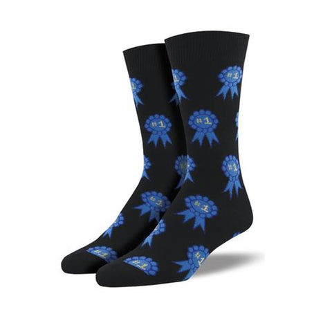 Novelty Socks NUMBER ONE FAN BLACK Fabric Cotton Crew Blue Ribbon Mnc943 Blk 36370