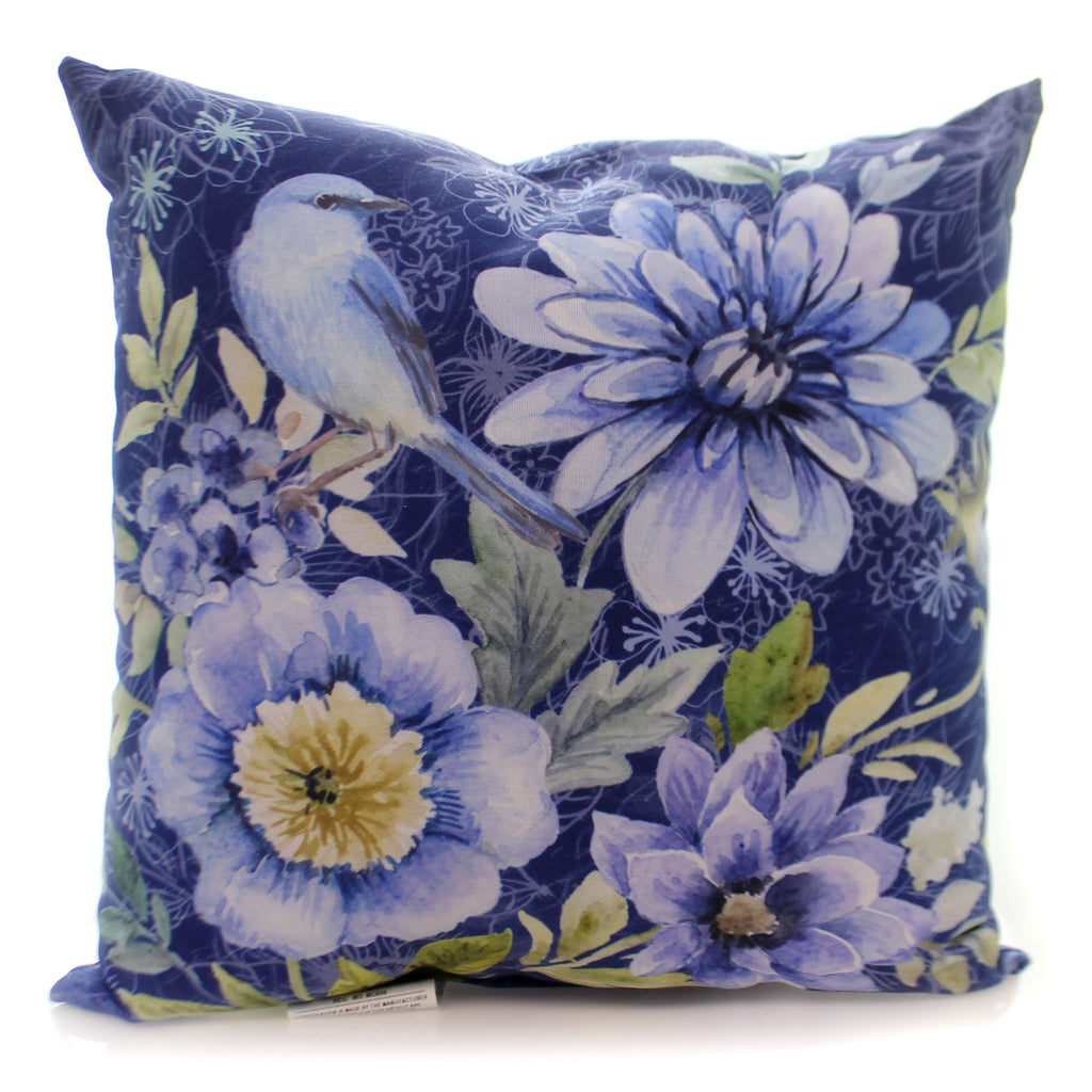 Home & Garden Spring Mix Bluebird Floral Pillow Accent Pillow