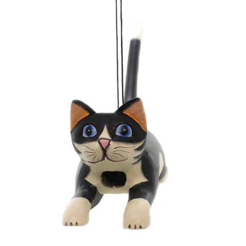 Home & Garden LEAPING BLK/WHT CAT BIRDHOUSE Albesia Wood Hand Carved Se3880108 36425