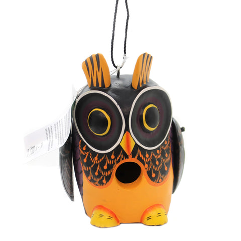 Home & Garden OWL FALL COLORS BIRDHOUSE Albesia Wood Hand Painted Se3880215 36431
