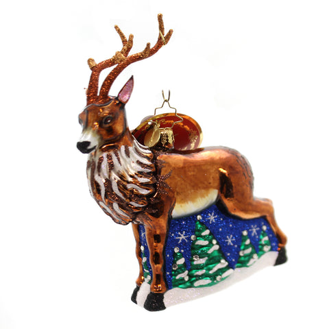 Christopher Radko Towering Reindeer Glass Ornament 36452