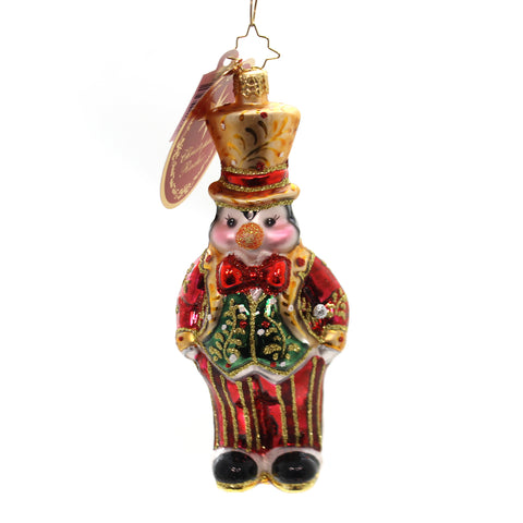 Christopher Radko Pinstripe Penguin Glass Ornament 36458