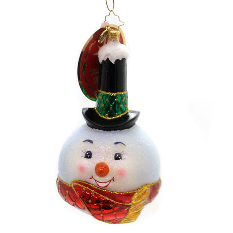 Christopher Radko Snowy Stovepipe Glass Ornament 36462