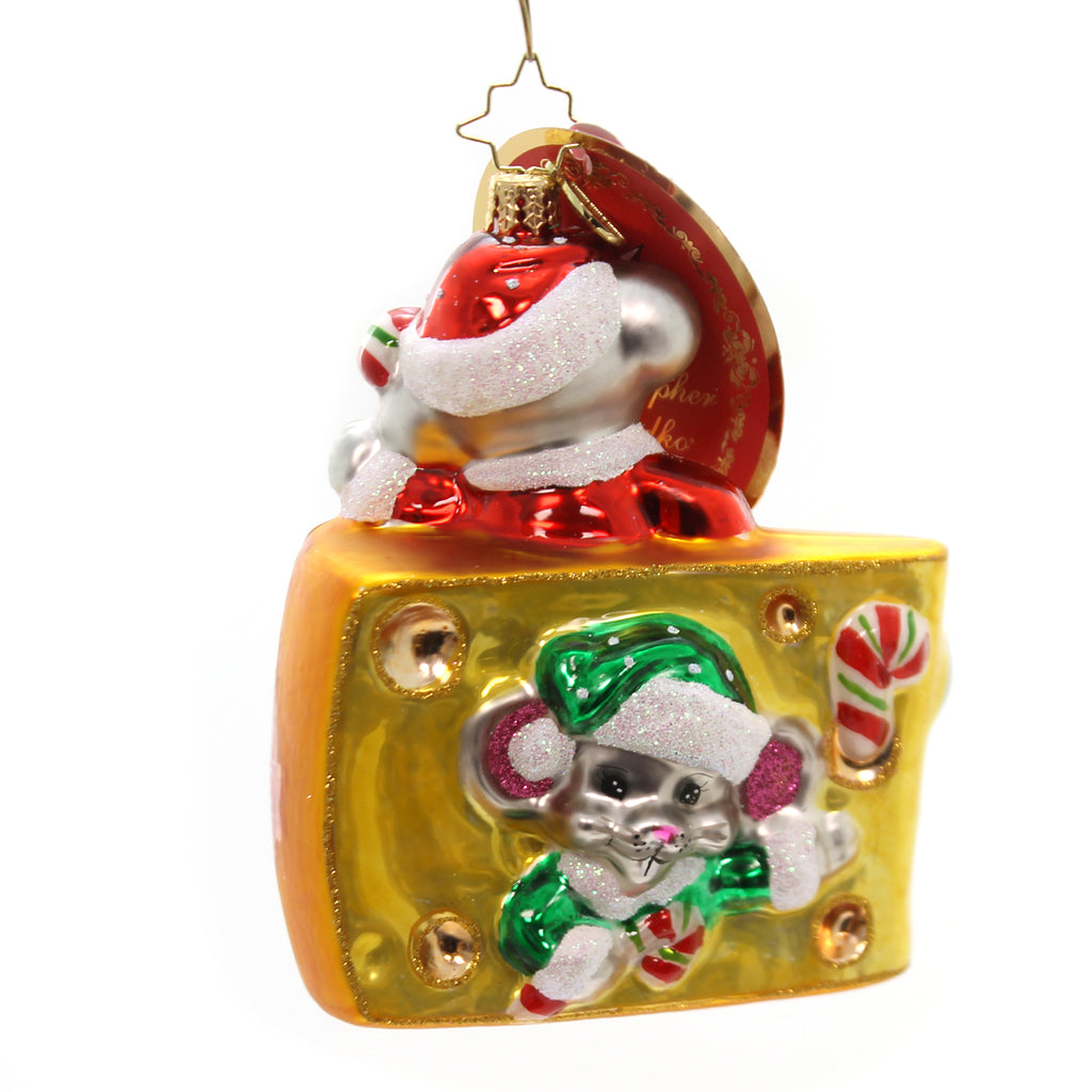Christopher Radko Mini Cheese Bites Glass Ornament