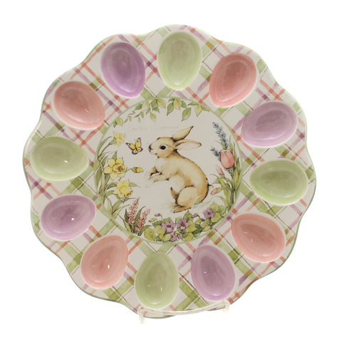 Tabletop BUNNY PATECH EGG PLATE Ceramic Easter Rabbit Spring 22669 36474