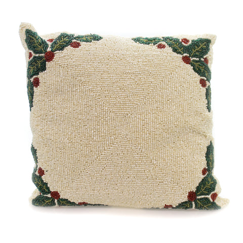 Christmas BEADED PILLOW Fabric Ivory Holly Berries Ta 511 36496