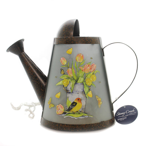 Stony Creek LIGHTED WATERING CAN Metal Flowers Bird Bees Butterfly Btu8206 36511