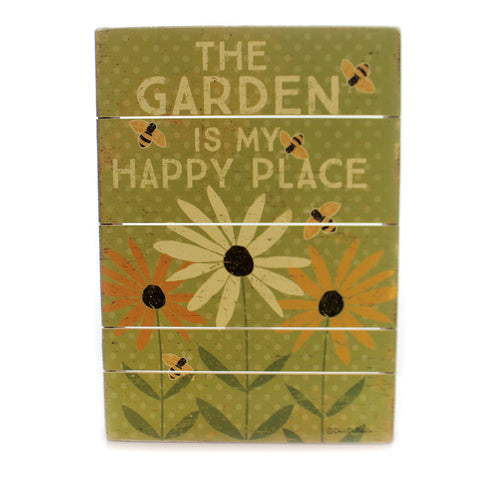 Home Decor THE GARDEN SLAT SIGN Wood My Happy Place 35315 36640