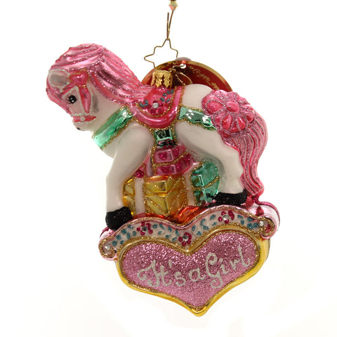 Christopher Radko Pink Princess Pony Glass Ornament 36646