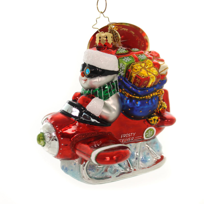 Christopher Radko Flying To Frosty Heights Glass Ornament