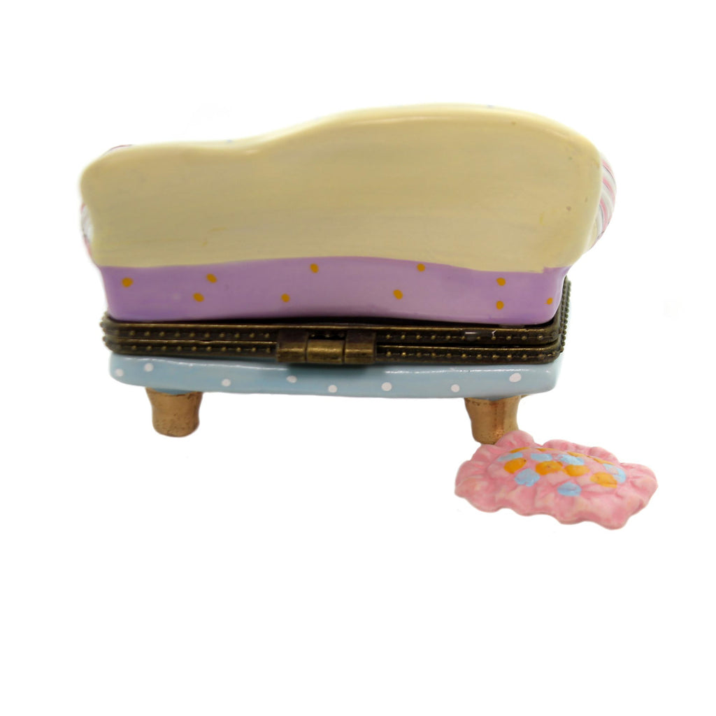 Hinged Trinket Box FLORAL LONG SOFA Ceramic Toss Pillow Couch Eb945