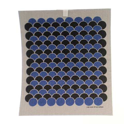 Swedish Dish Cloth BLUE BLACK SCALLOPS Fabric Absorbent 21968B 36715