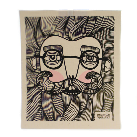 Swedish Dish Cloth BEARDED MAN Fabric Absorbent 21920 36719