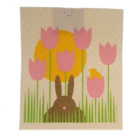 Swedish Dish Cloth BUNNY GARDEN Fabric Absorbent Easter 21962 36724