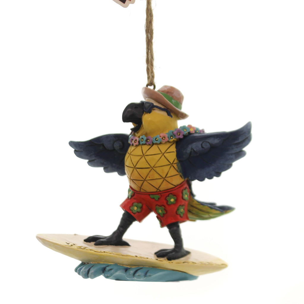 Jim Shore PARROT SURFING ORNAMENT Polyresin Margaritaville 6001538