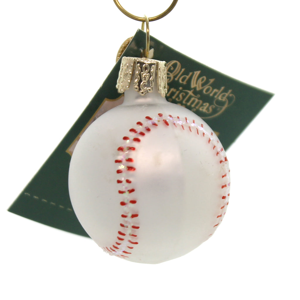 Old World Christmas MINIATURE SPORT BALLS Glass Ornament 44023 Baseball