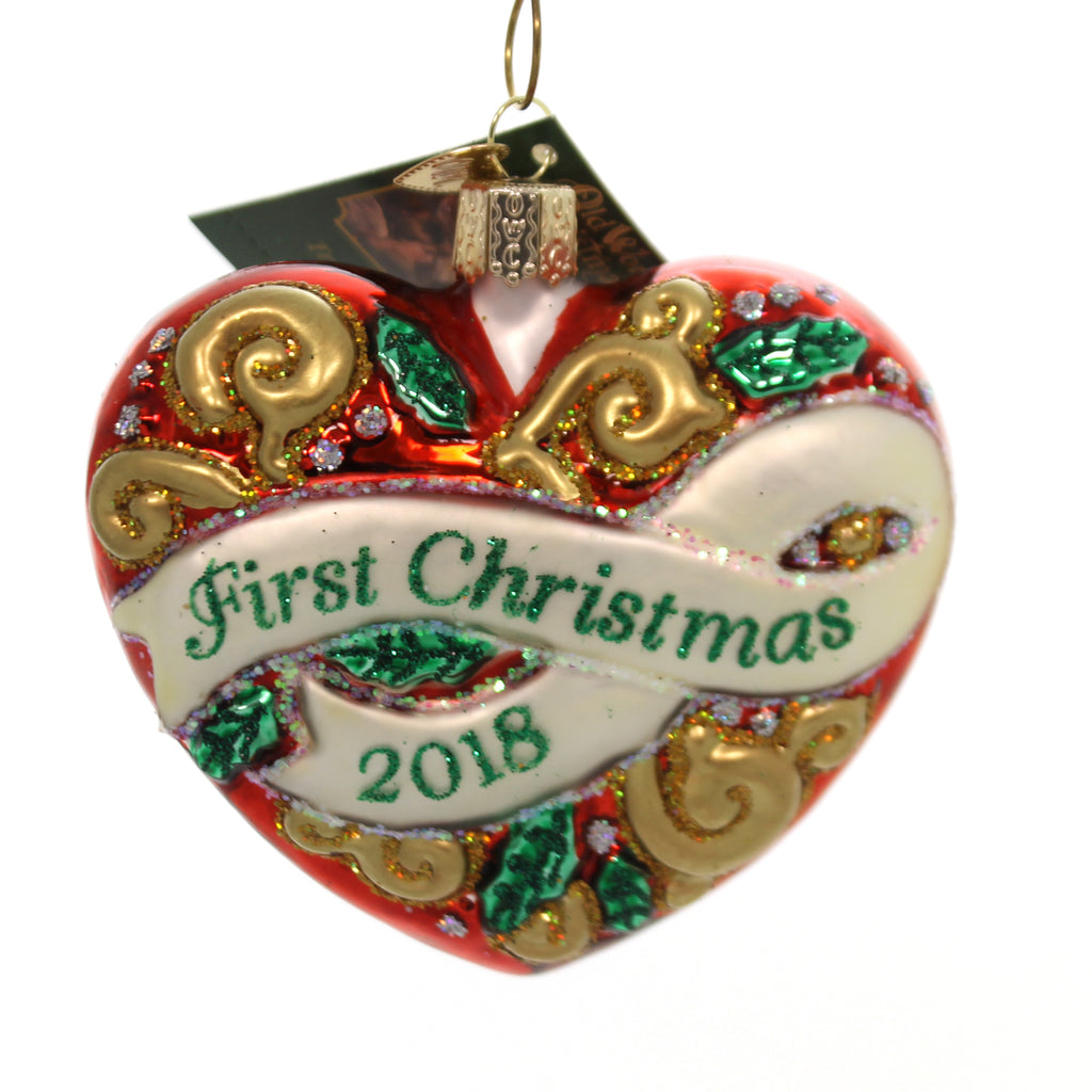 Old World Christmas FIRST CHRISTMAS HEART 2018 Ornament Love Marriage Dated 30053
