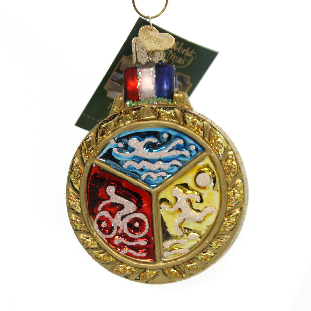 Old World Christmas TRIATHLON MEDALLION Glass Ornament Swim Bike Run 36201.