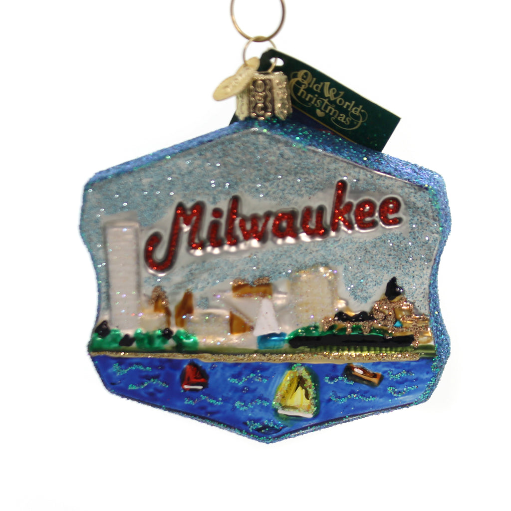 Old World Christmas MILWAUKEE Glass Ornament Wisconsin City 36169
