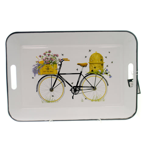 Tabletop ENAMELED TIN BICYCLE TRAY Metal Platter Bee Hive Flowers Da9196 36858