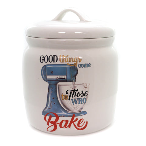 Tabletop CANISTER WITH MIXER Ceramic Cookie Jar Treats Da9399 36873