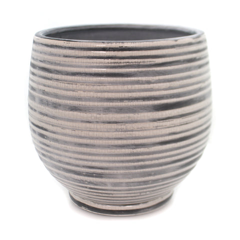 Home Decor GREY/WHITE STRIPE PLANTER Stone Succulents Da9379 36875