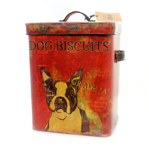 Tabletop DOG BUSCUIT TIN Metal Treats Boston Terrier De0791 36877